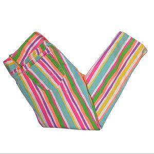 Lily Pulitzer Worth Skinny Mini Zip Jeans Stripe 6